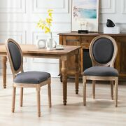 Beautiful Antique Style Dining Chair 4pc Set Dark Gray Upholstered Fabric New
