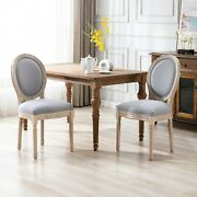 Beautiful Antique Style Dining Chair 4pc Set Light Gray Upholstered Fabric New