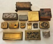 14 Stamp Boxes Jewelry Art Nouveau Deco Vintage Antique Brass Silver Wood Inlay