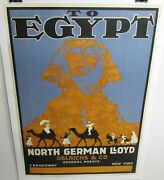 Vintage 1913 To Egypt North German Lloyd Shipping Lb 35x25 Poster Free Shipping