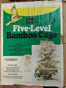 Vintage Sears Large Bamboo 5 Level Pagoda Style Wooden Housebird Cage Kit Used