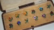 Very Rare 1884 Sterling Silver Patent Enamel Floral Cup Tokens Clips
