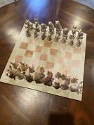 """Vintage African Soap Stone Chess Set -hand Carved 14x14"""" Board"""