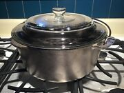 Vintage Wagner Ware 1268 Cast Iron Dutch Oven Nickel Plated W/trivet Glass Lid