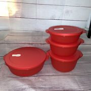 4 New Tupperware Crystalwave Vent Top Bowls Containers 2643 2642 2641 2640 Red