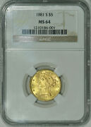 1881-s Ngc Ms64 Pq Liberty 5 Gold Half Eagle Scarce Super Luster And Eye Appeal
