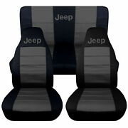 1997-2002 Jeep Wrangler Tj Seat Covers Charcoal Gray Canvas Front And Rear 15715