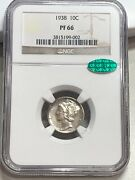 1938 Proof Mercury Dime Ngc Pf66 Cac Gorgeous Early Proof
