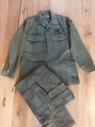 Vtg Us Army Ranger Og 107 Sateen Fatigue Shirt 1970s W/ Patches And Pants