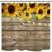 Riyidecor Rustic Sunflowers Shower Curtain Wooden Board Light Brown Yellow Co...