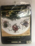 Dimensions Gold Col. Windswept Santa Tree Skirt Counted Cross Stitch Kit 8529