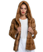 Womenand039s Sz M New Whiskey Golden Mink Fur Jacket Coat With Hood