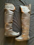 Antique Military Cavalry Riding Boots Knee High Leather German French Very Old