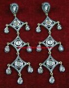 Finest Hand Made Antique Rose Cut Diamond 4.44ct Silver Polki Victorian Earrings