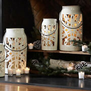 Super Rare Pottery Barn Punched Snowflake Hurricane Lantern Christmas Issue