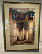 David Roberts View Under The Grand Portico Philae Lithograph Matted And Framed