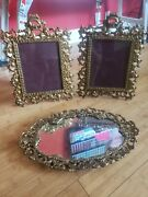 Antique Rococo Style 3 Pc Picture Frame And Matching Mirror Heavy Solid Beautifu