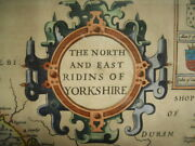 Map John Speed North And East Ridings Yorkshire 1616 Latin Ed. Antique Original Andsect
