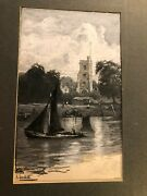 Antique Published Signed Illustration Art Painting Boats Thames Church Hysandham