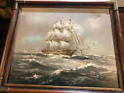 """Danny Garcia Nautical Clipper Ship With Birds Oil Painting 27 By 23"""""""