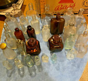 Thirty-one 31 Mixed Antique Lot Small Clear Glass Medicine/home Goods Bottles