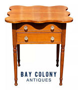 19th C Antique Sheraton Connecticut Cherry Work Table / Night Stand W Shaped Top