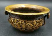 Exquisite Old Chinese Pure Copper Wealth Treasure Basin Crafts Statue Sl