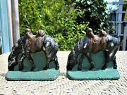 Antique Cast Pewter Cowboy Grazing Saddled Horse Western Bookends Painted