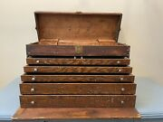 Large Vintage 1930andrsquos Wooden Machinist 6 Drawer Tool Box Oak Wood 27x16