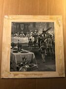 Rare Antique Published Signed Illustration Art Painting Boars Head King Century