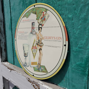 Vintage 1956 Gilbey's Distilled London Dry Gin Porcelain Gas And Oil Pump Sign