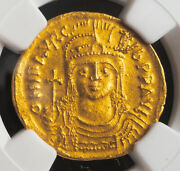 583, Byzantine Empire, Maurice Tiberius. Gold Solidus Coin. Sear 478. Ngc Au5/3