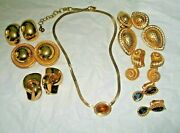 Lot 8 Christian Dior Earrings And Necklace Nautilus Tiger Eye Rhinestones ++++