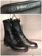 Nos Unissued 1997 Us 10r Black Leather Military Combat Boots Usa Vietnam Style