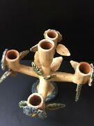 Mexico Mexican Hand Painted Terracotta Tree Of Life Candelabra Folk Art Pottery