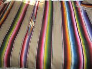 Large Antique 1930s Handwoven Mexican Wool Blanket Saltillo Serape 49 X 84