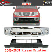 Front Bumper Chrome Steel + Lower Valance Primed For 2005-2008 Nissan Frontier