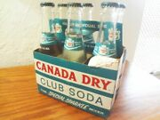 Six Pack Vtg Canada Dry Club Soda Bottles Sealed Painted Label Pop Top 7 Oz
