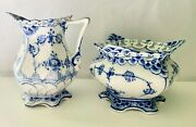 Royal Copenhagen Blue Fluted Full Lace Sugar Bowl 1112 And Creamer 1031,excellen
