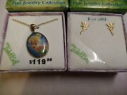 Disney Fairies Fine Jewelry Collection Tinkerbell 24k Gold Earring And Necklace