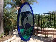 Stained Glass Dolphin Oval 19.5 X 12- Beautiful Stained Glass -299