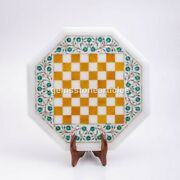 Marble Chess Set Top Table With Wooden Stand Mosaic Inlaid Art Indoor Game Dandeacutecor