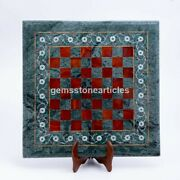 Green Marble Chess Inlaid Toptable With Wooden Stand Mosaic Art Best Indoor Game