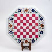 Marble Chess Top Table With Wooden Stand Pink Inlay Stone Mosaic Art Indoor Game