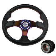 For 94-01 Integra 92-95 Civic 320mm Carbon Racing Steering Wheel Neo Horn And Hub