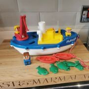 Very Rare Vintage Playskool Take Apart Fishing Boat With People Fish And Boat