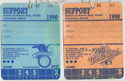 1990 World Series Oakland A's Team Support Pass And Al West Series Press Box Field