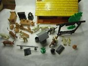 Vintage Marx Bar M Ranch Playset With Tin Bunkhouse And Extra Accessories