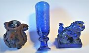 Antique Cobalt Blue Glass Private Collection.flower Pot, Wine Cup, Foo Dog China