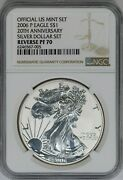 2006-p Ngc American Silver Eagle Reverse Proof Pf70 20th Anniversary Dollar Set